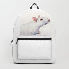 White Rat Watercolor Albino Rat Animal Backpack