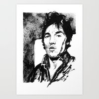 springsteen Art Prints featuring Springsteen in black and white by kenmeyerjr
