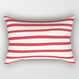 Red hand drawn stripes Rectangular Pillow