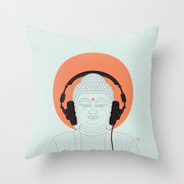 Buddha : Listen to Om! Throw Pillow