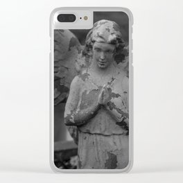 Cemetery Angel Statue Clear iPhone Case