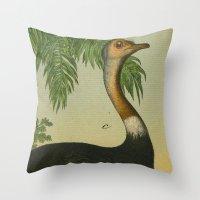 ostrich Throw Pillows featuring Ostrich  by Connie Goldman