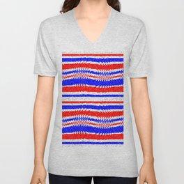 Red White Blue Waving Lines Unisex V-Neck