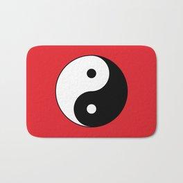 Yin and yang Symbol on red Bath Mat