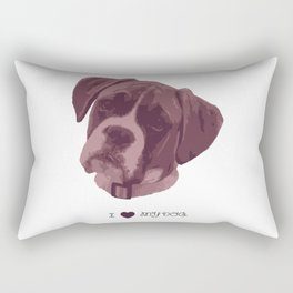 I love my dog - Boxer, pink Rectangular Pillow