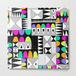 neon colors pattern with doodle elements. Metal Print