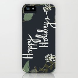 Happy Holidays Floral (blue) iPhone Case