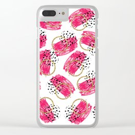 Abstract Black Pink and Faux Gold Brushstrokes Clear iPhone Case