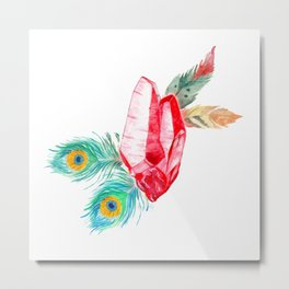 Crystals and Feathers - Ruby Metal Print