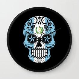 Sugar Skull with Roses and Flag of Guatemala Wall Clock