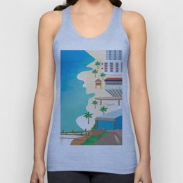 Cancun, Mexico - Skyline Illustration by Loose Petals Unisex Tank Top