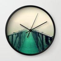 bridge Wall Clocks featuring suspension bridge by Sookie Endo