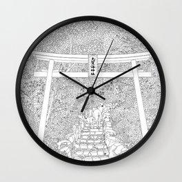 Shikaumi Shrine in Japan - Line Art Wall Clock