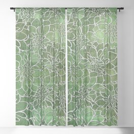 Dahlia Flower Pattern 4 Sheer Curtain