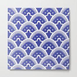 Fan Pattern Blue Metal Print