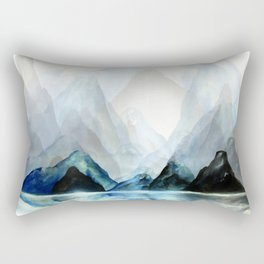 Mountain#1: a minimal, abstract of Milford Sound in New Zealand mixed media painting Rectangular Pillow