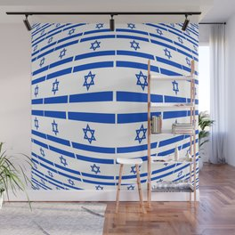flag of israel 12- יִשְׂרָאֵל ,israeli,Herzl,Jerusalem,Hebrew,Judaism,jew,David,Salomon. Wall Mural