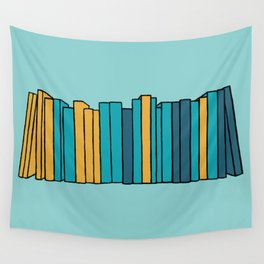 Books - teal, blue, gold Wall Tapestry