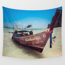 Longtail Boat on Phi Phi Island Thailand Wall Tapestry