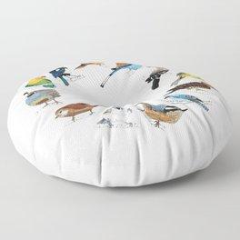 Birds Chirpin' Around the Clock Floor Pillow