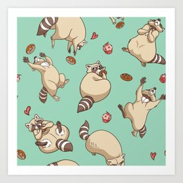 Raccoons Love Art Print