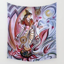 Musical Goddess Saraswati - Healing Art Wall Tapestry