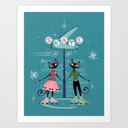 Vintage Kitty Skate Date ©studioxtine Art Print