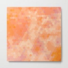 Orange and Coral TieDye Mosaic Dots Metal Print