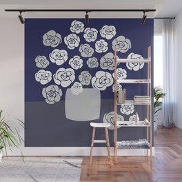 White Roses in Vase on Blue Wall Mural