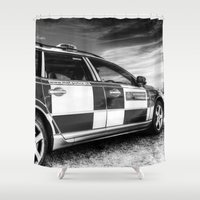 police Shower Curtains featuring Metropolitan Police Car London by David Pyatt