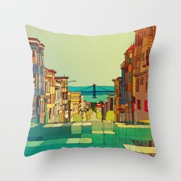 San Francisco digital street view Throw Pillow