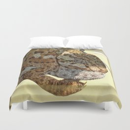 Chameleon Hanging On A Wire Fence Duvet Cover