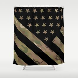 U.S. Flag: Military Camouflage Shower Curtain