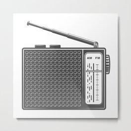 Vintage portable radio in design fashion modern monochrome style illustration Metal Print