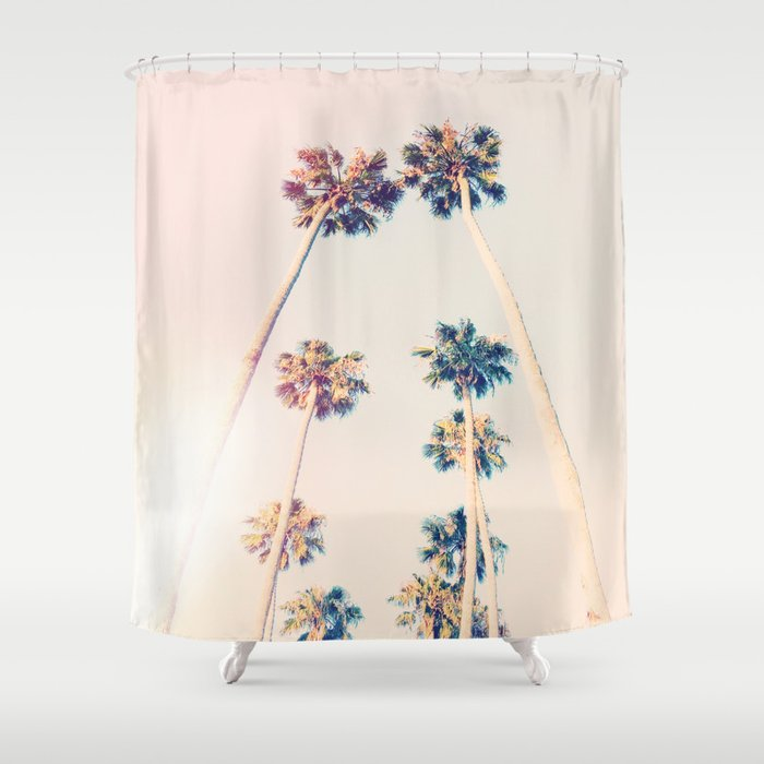 Vintage Pastel Palm Trees Shower Curtain By Hunterofwoods