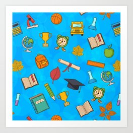 Back to school on blue background Art Print