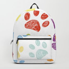 Colorful colored paw print background Backpack