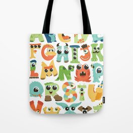 Cute monsters alphabet for boy's room monster alien critters illustrated characters Tote Bag