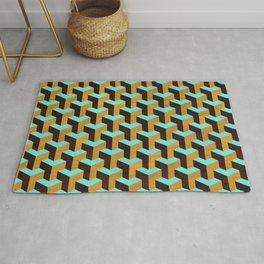 Aqua and Tan Geometric Marquetry Pattern Rug