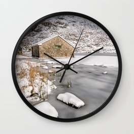 Frozen Lake Snowdonia Wall Clock