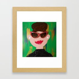 Red Polka Dotted Sunnies Framed Art Print