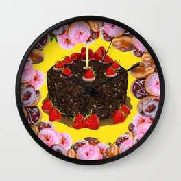 PINK FROSTED DONUTS BIRTHDAY PARTY Wall Clock
