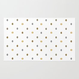 Silver and Gold Polka Dot Design Rug