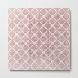 Faux Velvet Dusty Pink and Cream Lattice Pattern Metal Print