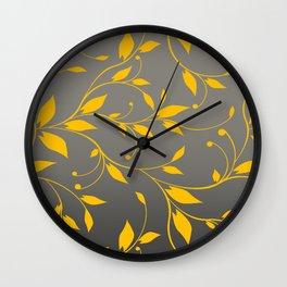 FLOWERY VINES | grey yellow Wall Clock