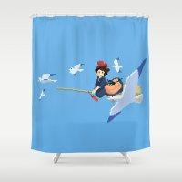 kiki Shower Curtains featuring Kiki by 8-bit Ghibli