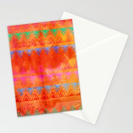 Abstract Bunting Watercolor Painting in Hot Pink, Orange, Mint & Blue Stationery Cards