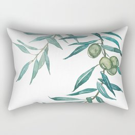 green olive leaf watercolor Rectangular Pillow