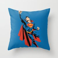 dc Throw Pillows featuring DC - Superman by TracingHorses