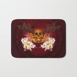 Amazing skull with flowers Bath Mat